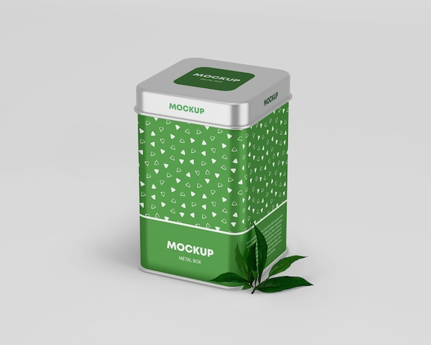 Metallic tin box mockup