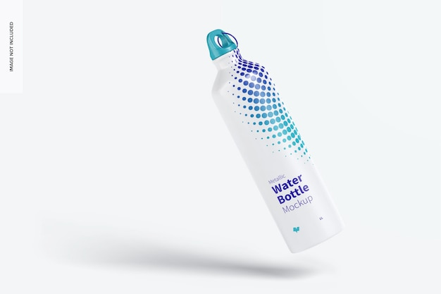 Metallic water bottle mockup, schwimmend