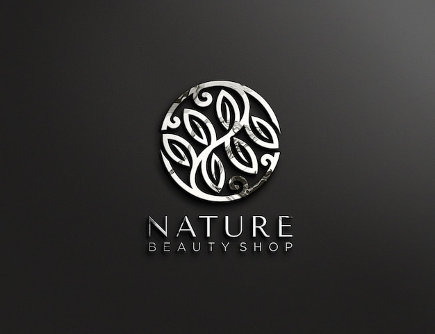 Metallisch geprägtes logo-modelldesign