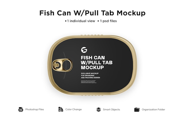 Metallische fische können tab mockup ziehen