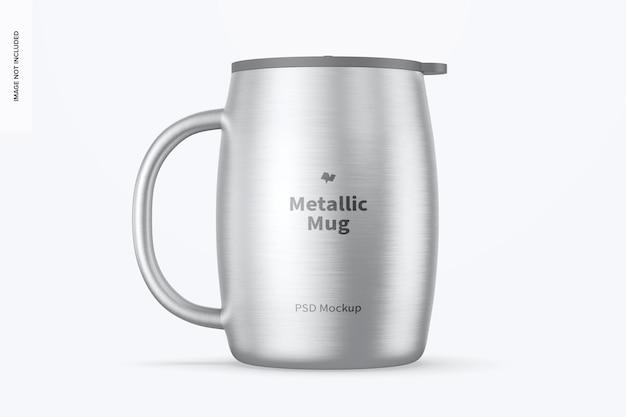 Metallischer becher mit deckelmodell