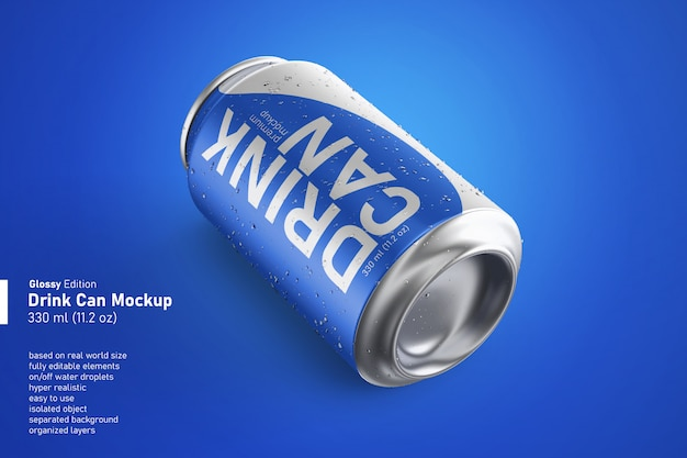 Metallisches erfrischungsgetränk kann mit wassertropfen in standardgröße hergestellt werden