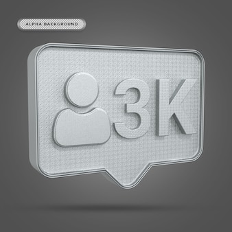 Metallisches instagram 3k-follower-symbol in 3d-rendering