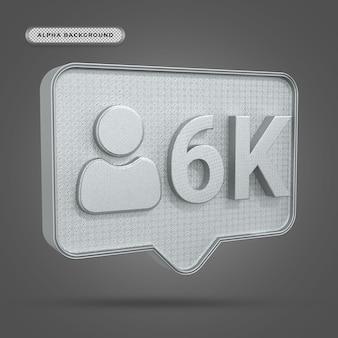 Metallisches instagram 6k follower-symbol in 3d-rendering