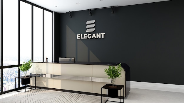 Metallisches logo auf dem mocku des büroempfangsraums