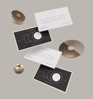 Metallisches schwebendes kupfer-visitenkartenmodell