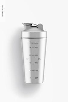 Metallisches shaker-flaschenmodell, ansicht von oben
