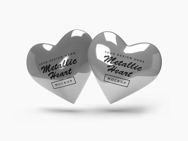 Metallisches valentinstag-herz-modell-design