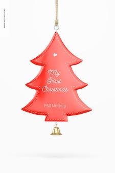 Metallisches weihnachtsbaum ornament mockup