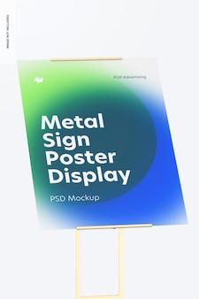 Metallschild poster boden display mockup, nahaufnahme