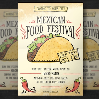 Mexikanische essen flyer vorlage