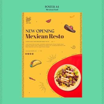 Mexikanische lebensmittelplakatschablone