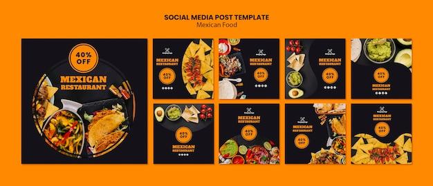 Mexikanisches essen social media beitragsvorlage