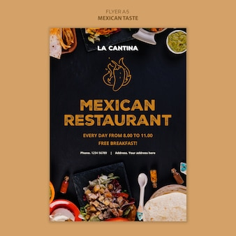 Mexikanisches restaurant flyer vorlage