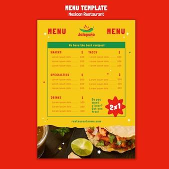 Mexikanisches restaurantmenü