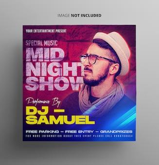 Mid night show musik flyer