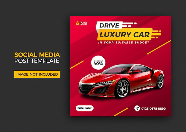 Mietwagen social media post template design