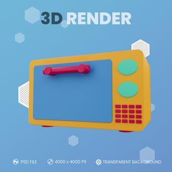 Mikrowelle 3d-rendering mit isoliertem hintergrund