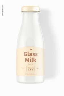 Milchflaschenmodell aus glas, ansicht von oben