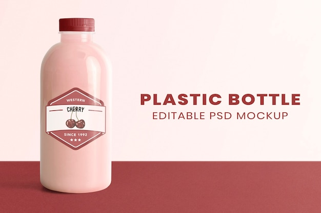 Milchplastikflaschenmodell psd mit etikettenproduktverpackung