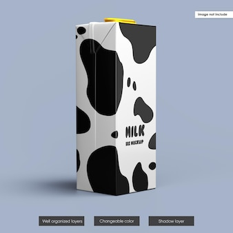 Milk box packaging mockup design isoliert