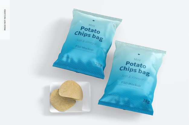 Mini kartoffelchips taschen mockup