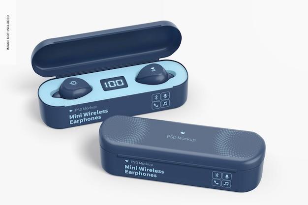 Mini wireless earphones mockup, geöffnet und geschlossen