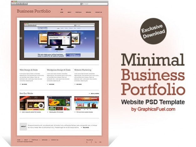 Minimal geschäftsportfolio website psd-vorlage