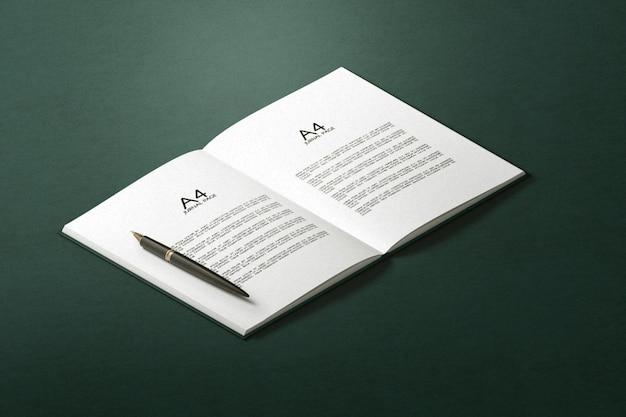 Minimal single hardcover mit offenem buchmodell