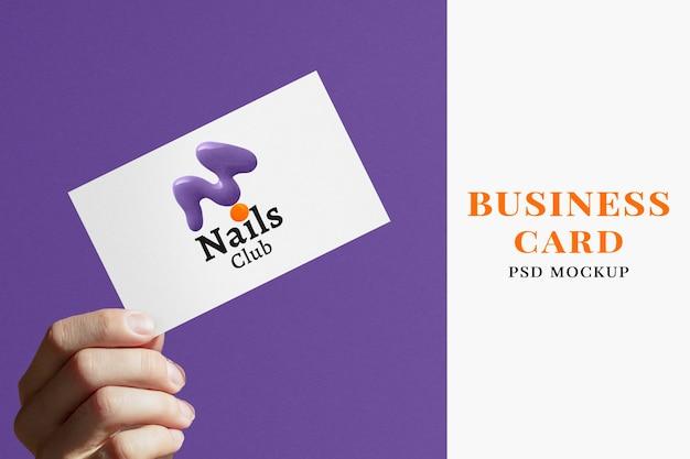 Minimalbusiness card mockup psd in lila und weiß