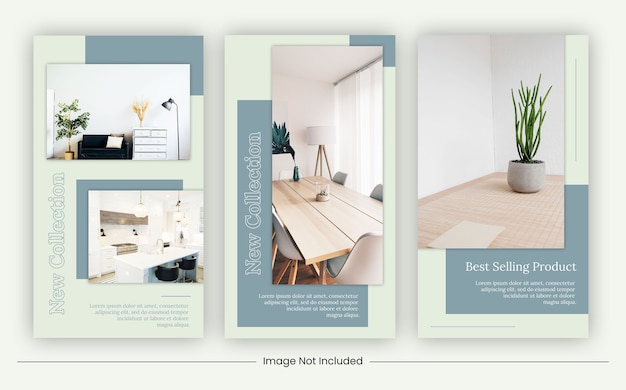 Minimale möbelvorlagen für social media-geschichten