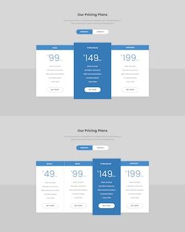 Minimale preistabelle für das web