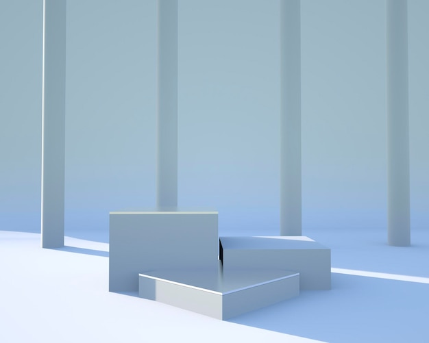Minimale szene mit geometrischem formdesign