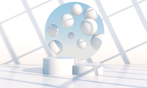 Minimale szene mit geometrischem podium-rendering
