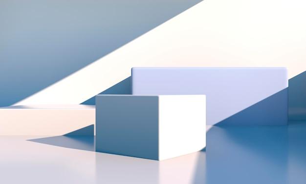 Minimale szene mit geometrischen formen in 3d-rendering