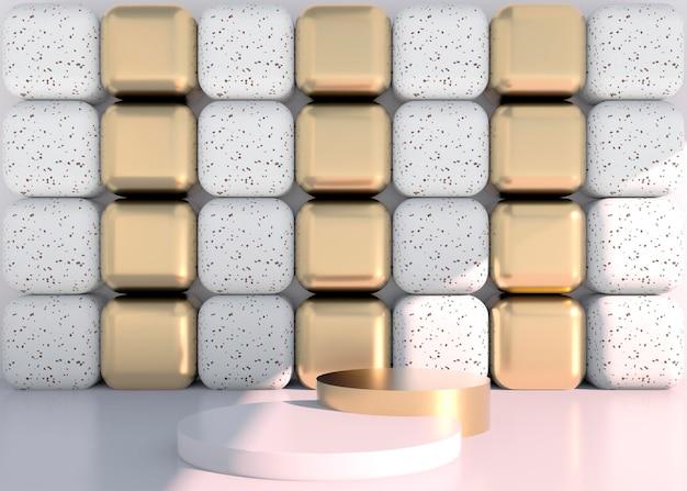 Minimale szene mit geometrischen formen, podien auf cremefarbenem hintergrund mit schatten. szene zum zeigen von kosmetikprodukten, vitrine, schaufenster, vitrine. 3d