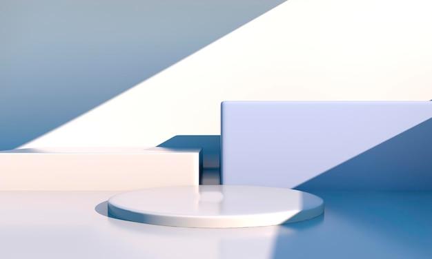 Minimale szene mit geometrischen formen, podien in cremefarbener szene mit schatten. szene, um kosmetisches produkt, vitrine, ladenfront, vitrine zu zeigen. 3d
