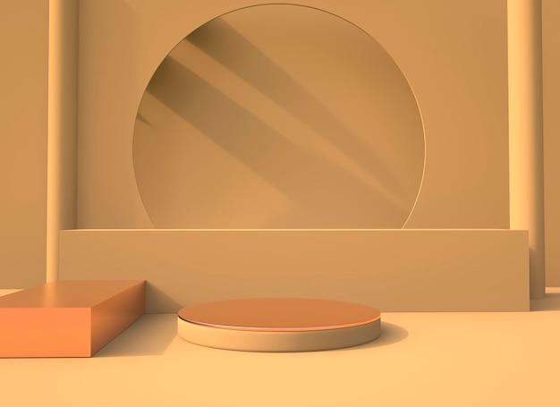Minimale szene mit geometrischen formen podien