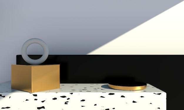 Minimale szene mit geometrischen formen und podien