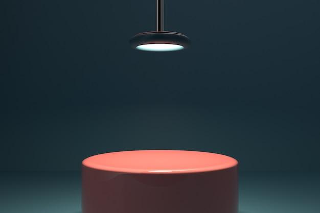 Minimale szene mit geometrischen formen zylinderpodest mit beleuchtung