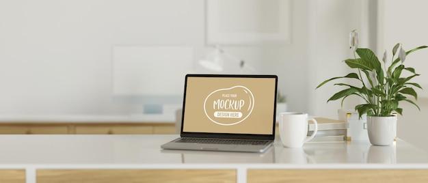 Minimaler arbeitsbereich mit mock-up-laptop, 3d-rendering, 3d-illustration