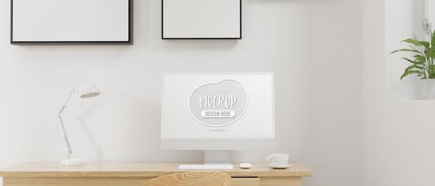 Minimaler arbeitsraum mit computerkaffeetassenlampe und dekorationen 3d-rendering