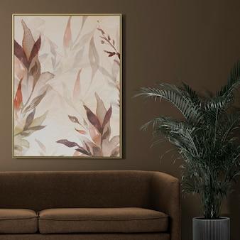 Minimales bilderrahmenmodell psd-blumenmalerei, die an der wand-wohnkultur hängt