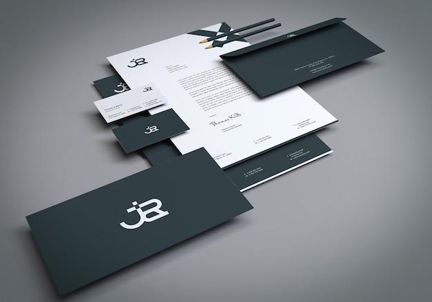 Minimales branding-briefpapier-set-mockup für die präsentation