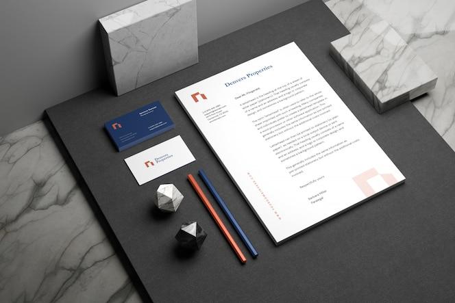 Minimales briefpapier-branding-modell