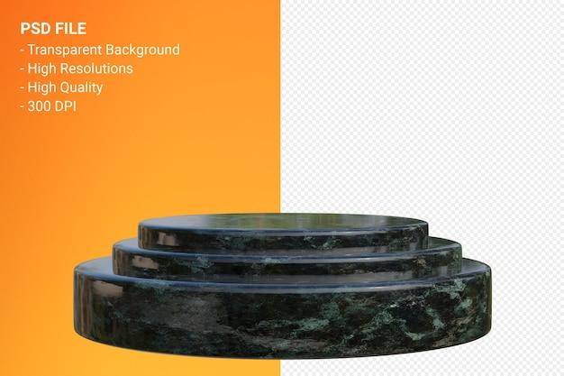 Minimales design des marmorpodiums in der 3d-darstellung isoliert