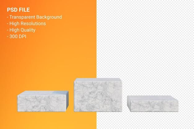 Minimales design des podiums der weißen marmor in der isolierten 3d-darstellung