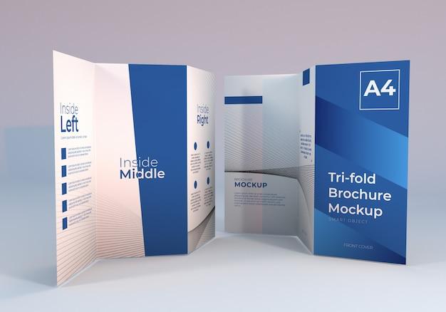 Minimales dreifach gefaltetes broschürenmodell