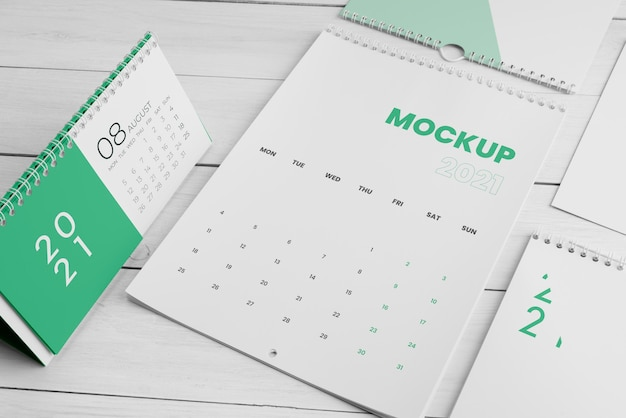 Minimales kalender-mock-up-sortiment