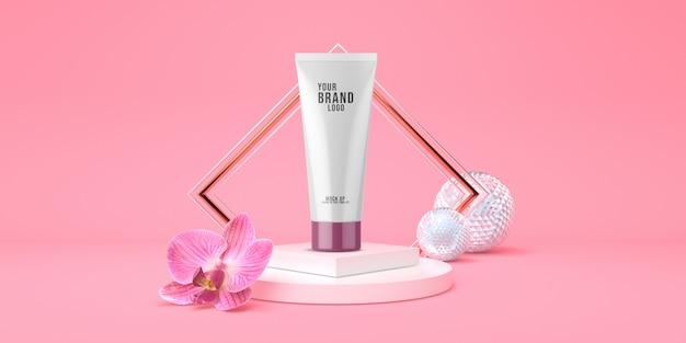 Minimales kosmetisches schablonenrosastudio mit podiums- und orchideenblumenpastellfarbe 3d übertragen